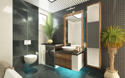 Badezimmer Beleuchtung: LED hinter Waschbecken & Spiegel