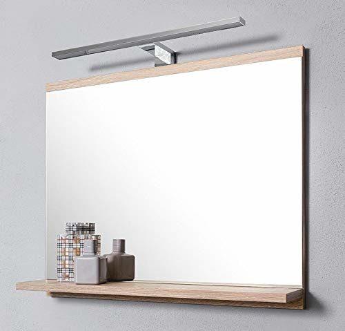 Sch/öner rechteckiger Badezimmerspiegel mit Ablage Wandbefestigung Wandspiegel modern und stylish Spiegel 50cm x 40cm mit abgerundeten Kanten 2 Lagen Glass Badspiegel