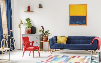 Trendfarben Blau, Rot, Gelb