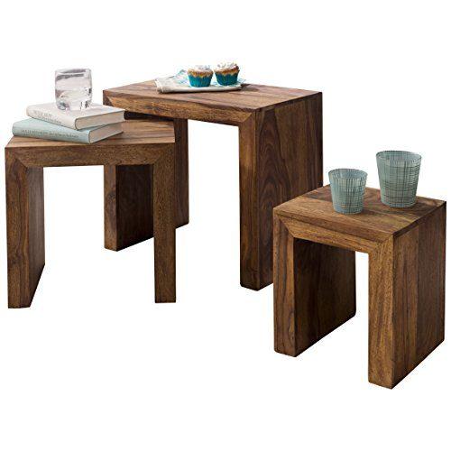 Wohnling 3er Set Satztisch Massivholz Sheesham Wohnzimmer Tisch Landhaus  Stil Beistelltisch Naturholz Couchtisch Natur Produkt Wohnzimmermöbel