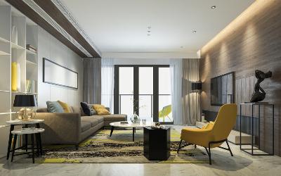 Farbgestaltung im Wohnzimmer: Grau-Gelb-Schwarz