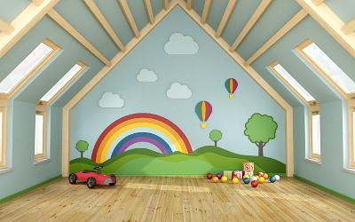 Farbgestaltung im Kinderzimmer mit Dachschräge