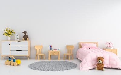 Kinderzimmer-Farbgestaltung in Grau und Rosa