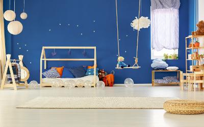 Kinderzimmer Wandfarbe Blau