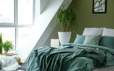 Schlafzimmer mit Dachschräge in Grün